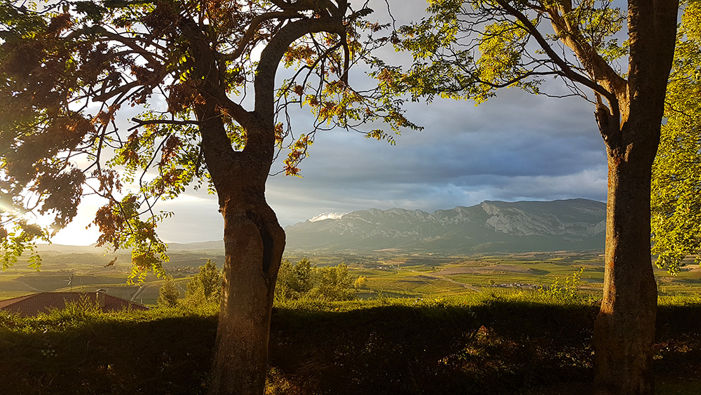 Views of the Sierra de Cantabria from Laguardia