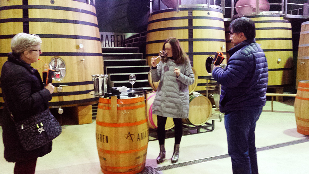 Barrel tasting at Bodegas Amaren, in Rioja Alavesa